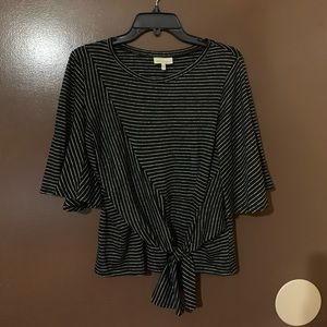 Black and White Bow Blouse Size Small